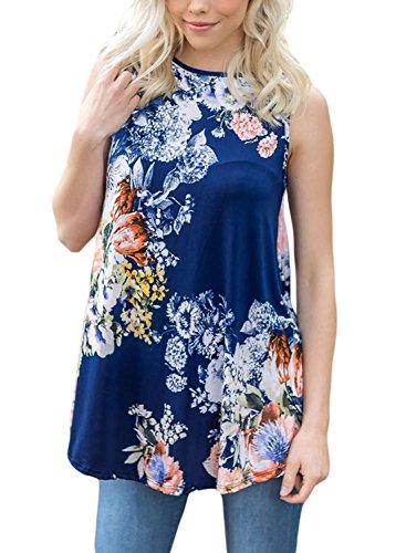 [해외]Dokotoo Womens 여름 캐주얼 꽃 프린트 민소매 루스 탱크 블라우스 & 탑스/Dokotoo Womens Summer Casual Floral Print Sleeveless Loose Tank Blouses and Tops