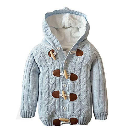 Baby Toddler Boys Girls Striped Long Sleeve Sweaters Cardigan Warm Outerwear Jacket Light Blue
