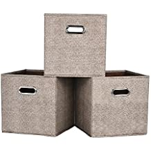 VCCUCINE Foldable Fabric Drawer for Cubes, Clothes Drawer Organizers With Mental Handle[3 Pack for Light Brown Organizers]