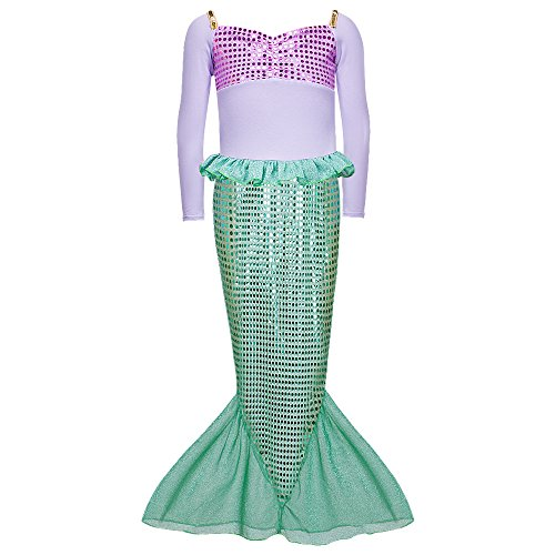 [Spring Long Sleeves Mermaid Princess Dress Costume for Little Girls] (The Little Mermaid Costume)