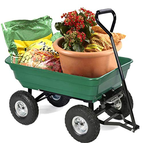 - BestMassage Garden Cart Utility Yard Dump Cart Wagon Carrier Wheelbarrow 4 Air Tires with Poly Pulling Wagon 10