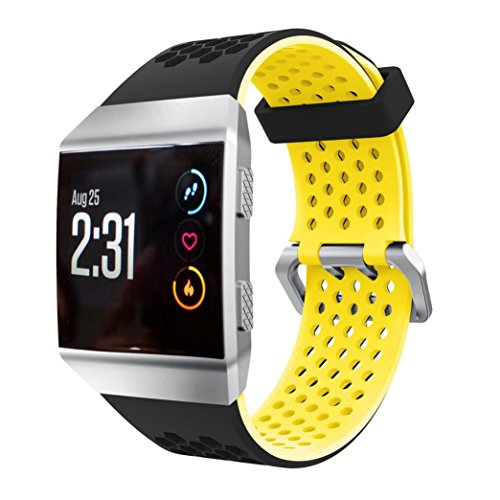 Price comparison product image Sympath Lightweight Ventilate Silicone Perforated Accessory Sport Bands for Fitbit Ionic (Yellow)