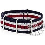 VK von Buran01.com Militär Nylon Uhrenarmband blau-weiß-rot 22mm WATCH STRAP