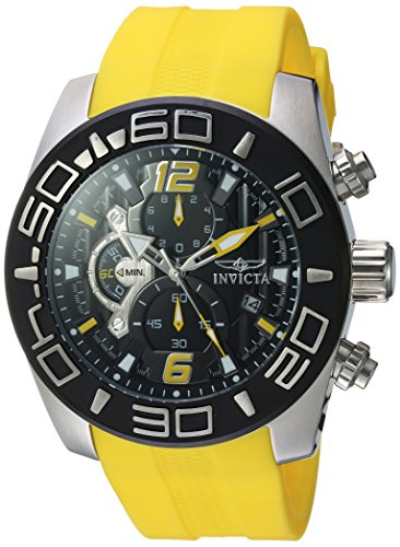 Invicta Men's 'Pro Diver' Quartz Stainless Steel and Silicone Casual Watch, Color:Yellow (Model: 22808)