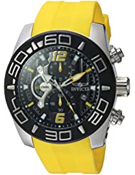 Invicta Mens Pro Diver Quartz Stainless Steel and Silicone Casual Watch, Color:Yellow (Model: 22808)