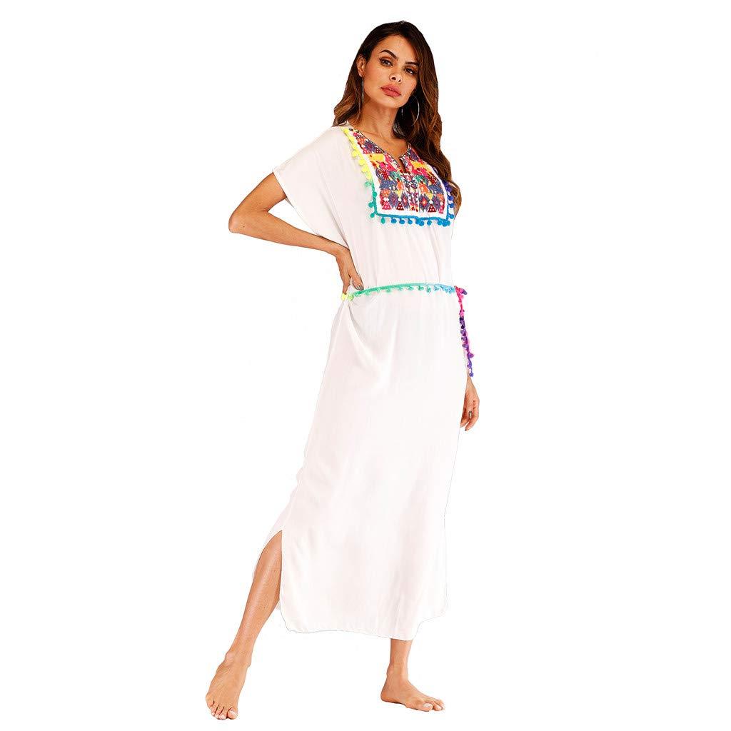 a03223e951f Womens Strap Slash Neck Dresses Summer Ruffle Beach Wear Bikini Cover Up  Boho Printed Mini Sun Dress (Free