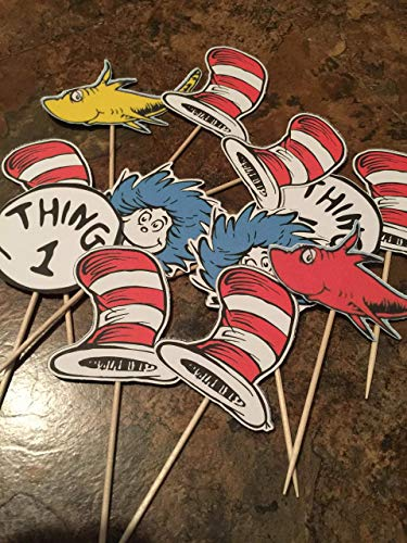 Seuss Cupcake Toppers - Mix of Characters - Baby Shower or Birthday - Fully Assembled - 12 Cupcake Toppers - Ready To Ship ()
