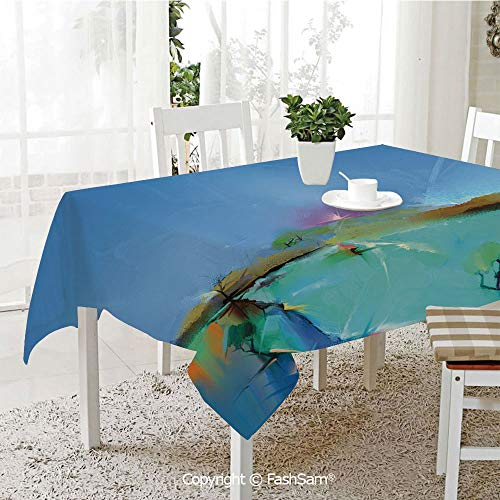 Tablecloths 3D Print Cover Abstract Sunrise Nature Scenery with Fantasy Brushstroke Effects Expression Picture Decorative Party Home Kitchen Restaurant Decorations(W55 xL72)