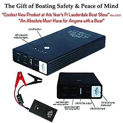 SALE-LOWEST PRICE EVER - Plan Sea Emergency Boat RESCUE / JUMPER. Onboard Battery Jump Starter w/ Rescue Laser Flares. Most Important of All Boating Accessories & a MUST HAVE for Anyone w/ a Boat