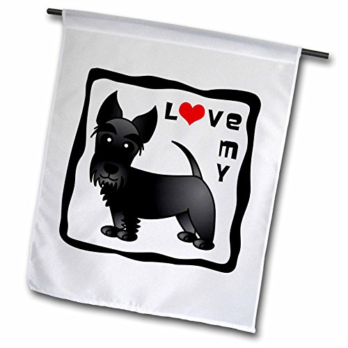 3dRose fl_40872_1 I Love My Scottie Dog Black Red Heart Garden Flag, 12 by 18-Inch ()