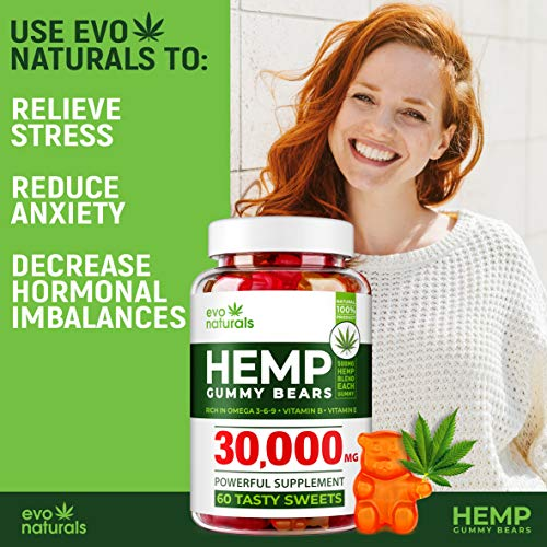 Evo Naturals Hemp Gummies - 17500 MG Blend - 292 MG per Serving - Relaxing Oil Gummies - Stress & Anxiety Relief - Effective Mood Support - with Omega 3,6,9 & Vitamin E, B - Made in USA