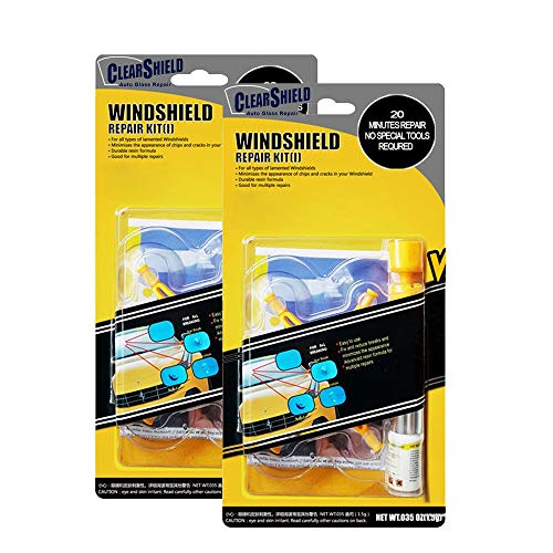 (Clearshield DIY Windshield Repair Kit - Auto Glass Rock Chip Repair Kit for Star Horseshoe Bull's Eye Chips or Cracks - No Need to Replace The Whole Windshield - with Instructions (2 Pack))