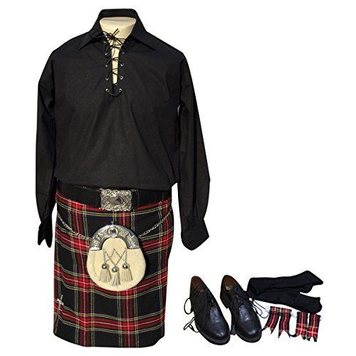 Traditional Scottish Woman Costume (10 Pcs Kilt Outfit, Jacobite Shirt, Kilt, Sporran, Shoes etc Outfit Set)