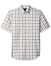 Haggar Mens Short Sleeve Check Linen Cotton Shirts