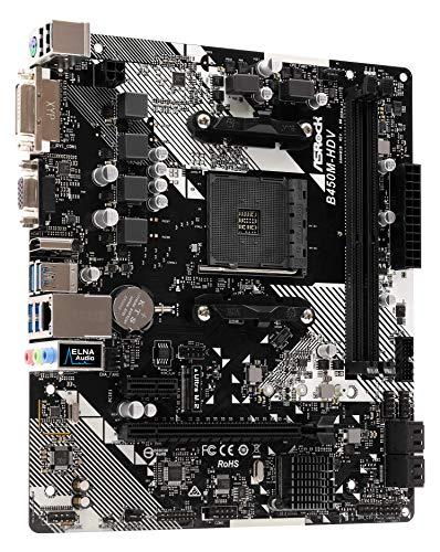ASRock B450M-HDV R4 0 Socket AM4/ AMD Promontory B450/ DDR4/ SATA3&USB3 1/  M 2/ A&GbE/MicroATX Motherboard