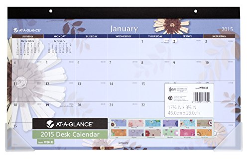 AT-A-GLANCE Compact Desk Calendar 2015, Paper Flowers, 17.75 x 10.88 Inch Page Size (PF5032)