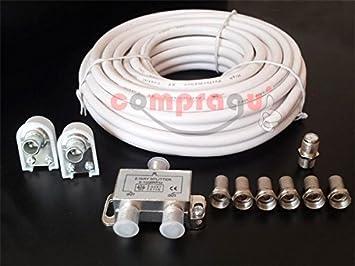 CEXPRESS - Pack cable coaxial de 15 metros, conectores, splitter y empalme