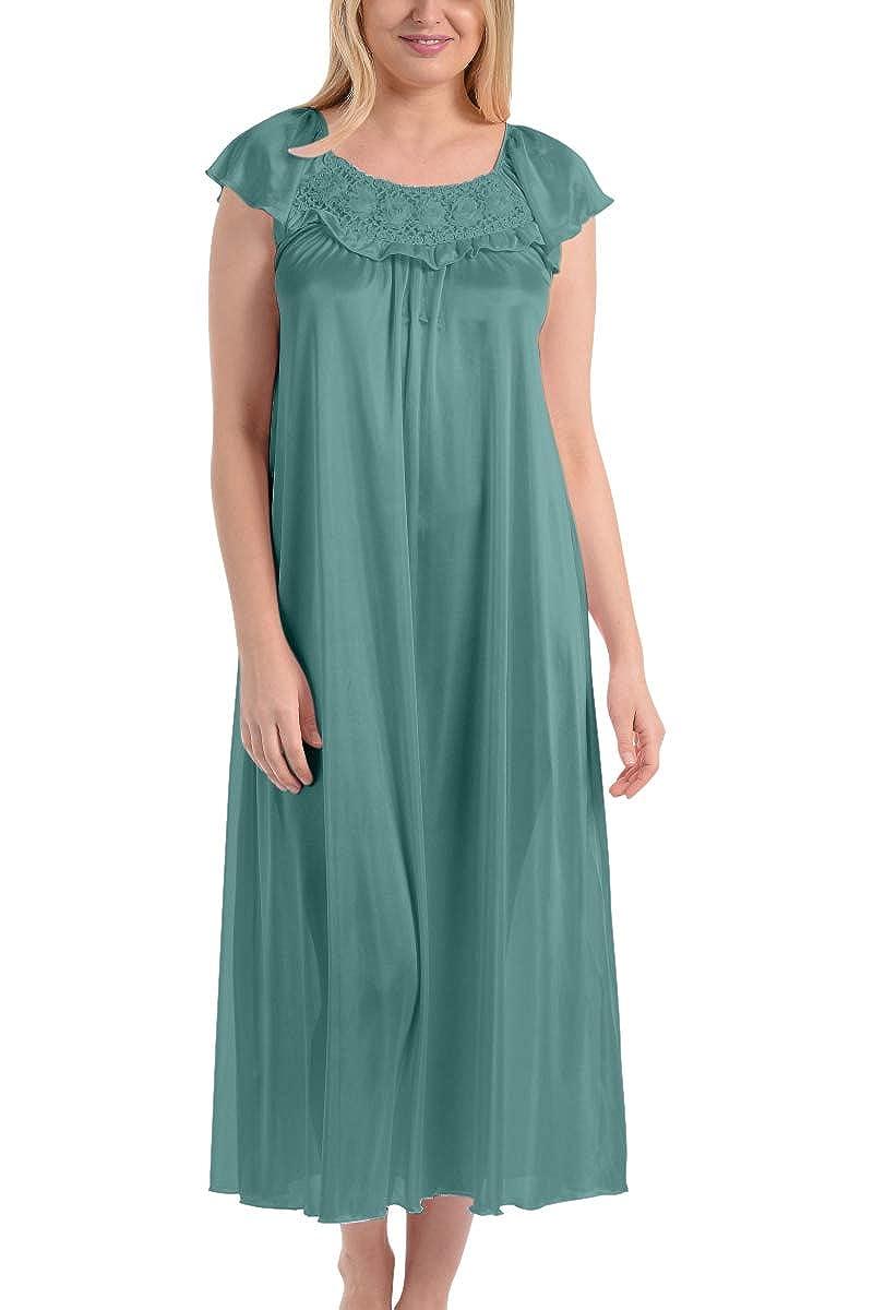 Ezi Womens Satin Silk Ruffle Long Nightgown