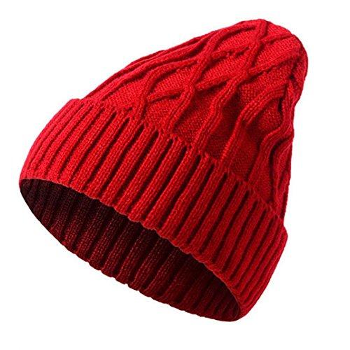 Elevin(TM)2017 Men Women Unisex Warm Winter Knitted Woolly Ski Beanie Slouchy Chic Caps Hat (Red 1)