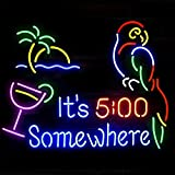 It's 5:00 Somewhere Parrot Real Glass Beer Bar Pub Store Party Room Wall Windows Display Neon Signs 19x15