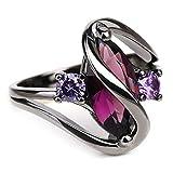 ECYC Trendy Engagement Wedding Rings Women Horse Eye Cz Black Gold Rings, Size 7
