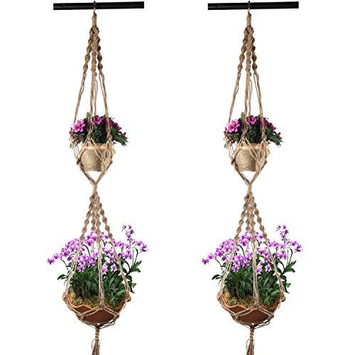 Plant Hanger Holders, PEMOTech 50 Inch Double Plant Hange...