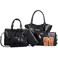 AutumnFall Womens 6 Pcs Shoulder Bags Top-Handle Handbag Tote Purse Set (Black)