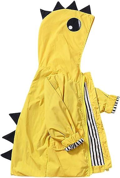 Baby Boys Girls Cartoon Duck Raincoat Cute Hooded Windbreaker Coat Outerwear Jacket