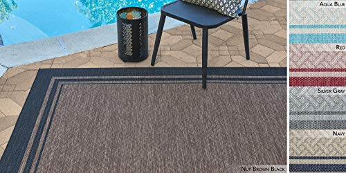 Garden and Outdoor Gertmenian 22225 Outdoor Rug Freedom Collection Bordered Theme Smart Care Deck Patio Carpet, 6×9 Medium, Border Black… outdoor rugs