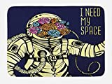 Lunarable Outer Space Bath Mat, Floral Cosmonaut Man in the Spacesuit Solar System Alien Comet Cartoon Image, Plush Bathroom Decor Mat with Non Slip Backing, 29.5 W X 17.5 W Inches, Yellow Blue