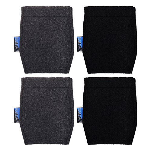 BCP 4 pcs Pocket Square Card Holder for Man's Suits (Black and Dark Gray Color)