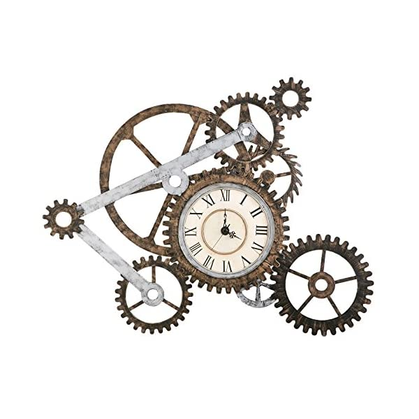 Vory Old Fashioned Wall Clock Metal Rustic Modern Industrial Steampunk Bedroom Decor 100x82cm 4