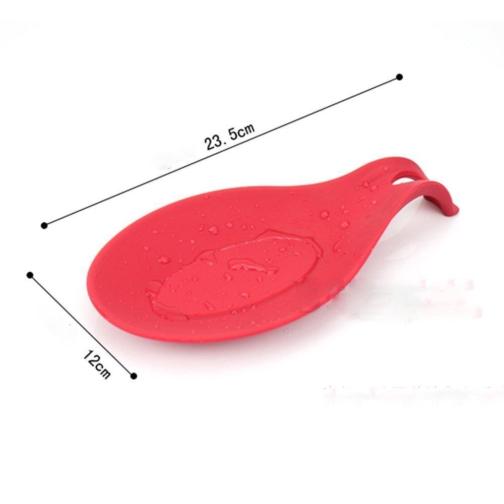 Iiou rosso semplice da cucina in silicone stufa Poggiamestolo Tools