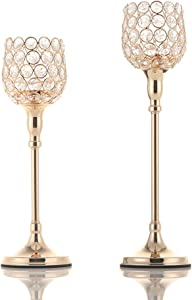 VINCIGANT Pack of 2 Gold Pillar Candle Hoders,Candlesticks Centerpieces for Wedding Party Dinner Centerpiece Decoration (Gift Boxed)