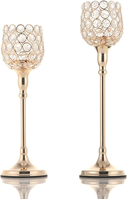Iron Candlestick Holder Centerpiece for Home Decor Dining Table Pack of 2Pcs Party Vincidern 2PC Gold Pillar Votive Candle Holders for 3 Pillar or 3//4 Taper Candle