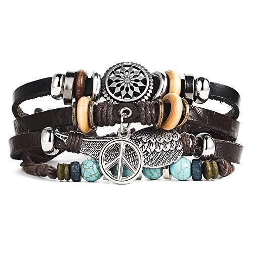(BOHO Hippie Wrap Style Leather Adjustable Bracelet Unisex Peace Sign Leaf & Turquoise Beads)