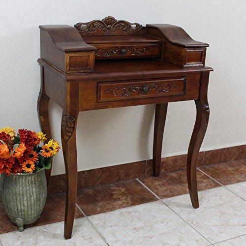 International Caravan 3840-IC Furniture Piece Carved Wood Two Drawer Telephone Table by International Caravan