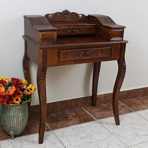 International Caravan 3840-IC Furniture Piece Carved Wood Two Drawer Telephone Table