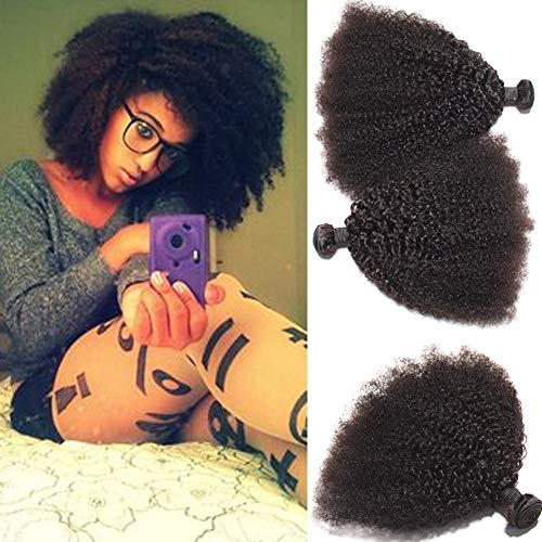 AS Mongolian Afro Kinky Curly Bundles for Black Women,100% Virgin Real Human Hair Bundles Grade 8A Natural Black Curly Weave Hair (8 8 8)