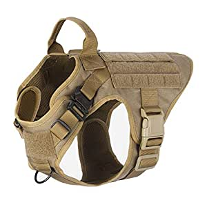 """ICEFANG Dog Harness Medium Breed,Tactical Molle Dog Vest,No Pulling Front Clip, Hook Loop Panel Dog Patch,Metal Buckle (M 25""""-30"""" Girth), CB-2x Metal Buckle"""