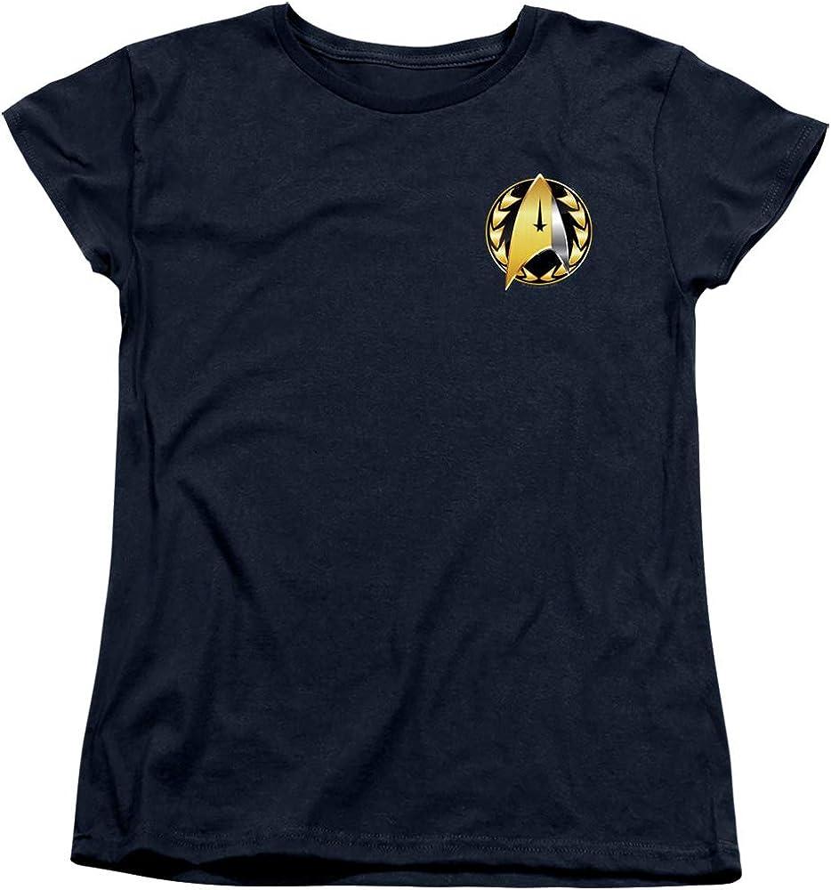 A&E Designs Star Trek Womens T-Shirt Discovery Admiral Badge Navy Tee