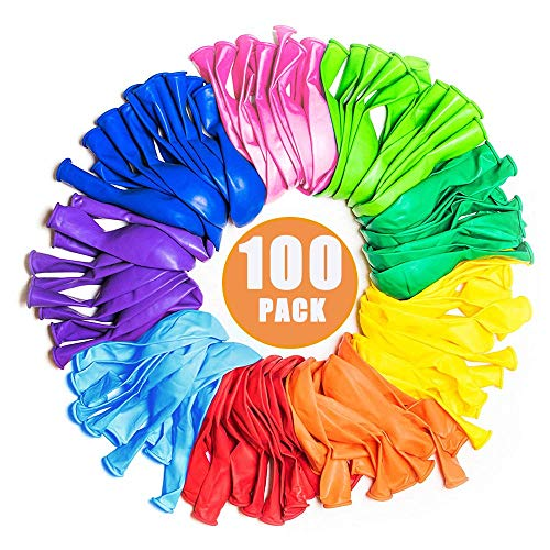 Party Surplies Favors for Kids, Party Balloons 12 Inches Rainbow Set (100 Pack) Assorted Colored Party Balloons Bulk Carnival Prizes Box for Kids Bulk for Birthday Wedding -
