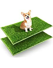 """Hompet Dog Grass Pads, Puppy Turf Potty Training Pads, Artificial Turf for Dog Systems Replacement Grass Mats, Easy to Clean with Fast Drain Holes, Indoor/Outdoor Garden Lawn Patio Balcony 28""""×18"""""""