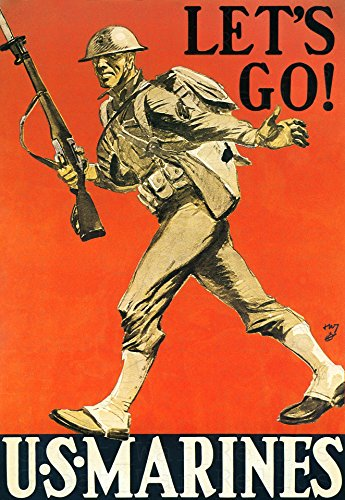 UpCrafts Studio Design WWI Propaganda Poster - Size 11.7 x 16.5 - LET'S GO! US MARINES- WWII Wall Art Prints Reproduction - WW1 American Military Wall Art Decorations