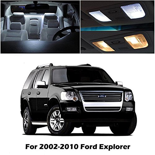 - SMDchipset 8PCS White LED Light Bulb Interior Light kit Package W/License Plate Light For Ford Explorer 2002-2010