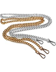 """maxin 47"""" Purse Replacement Chains,2 Pcs Purse Strap Hardware Crossbody Purse Flat Chain Strap with Metal Buckles (Sliver & Golden)"""