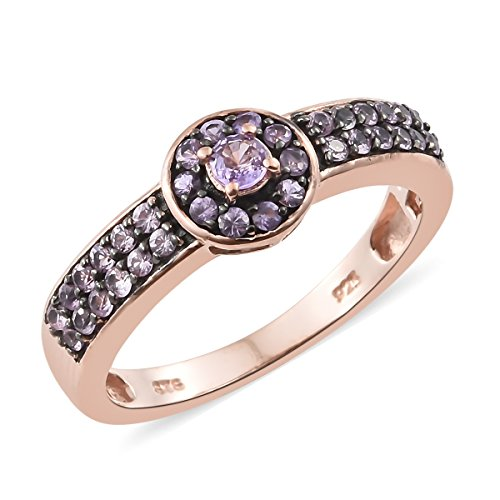 925 Sterling Silver Rose Gold Plated Round Sapphire, Multi Gemstone Cluster, Floral, Halo, Flower Ring Size 9