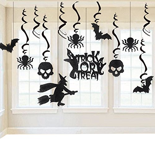 KateDy 13 Ct Halloween Hanging Decoration, Window Door Decoration, Haunted House Hanging Swirl Yard Party Decorations, Creepy Bats, Spiders, Skull, Witch Ceiling Supplies(Random Pattern -