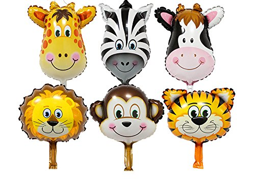 Ifavor123 Set of 6 Large 22 Inch Mylar Helium Foil Animal Balloons for Party Decorations -
