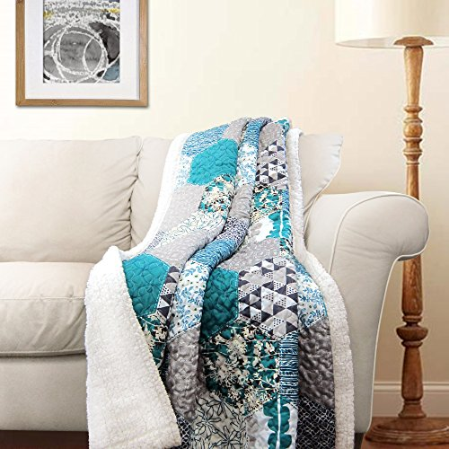 Lush Decor Briley Reversible Throw-Colorful Hexagon Patchwork Pattern Blanket-60 x 50